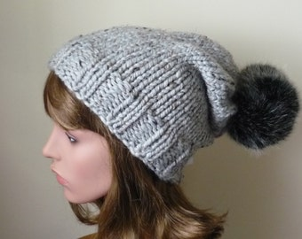 Knit Slouch Hat Faux Fur Pompom Warm Wool Blend Winter Hat in Great Marble  with Black Cat Pompom - Ready to Ship - Gift for Her