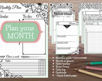 Printable Monthly Planner, bullet journal insert, month planner, monthly planner inserts,  planner printable pages, digital planner, bujo
