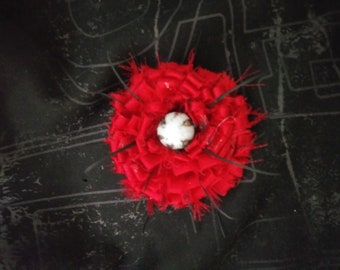 Red Satin Flower Brooch with Black Accents