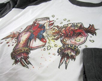 Dark Sacrificial Party Ritual — 3/4 sleeve raglan shirt