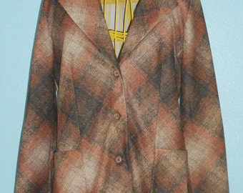 "1970s ""Dimension V"" Ladies Plaid Print Polyester Blazer — Modern Size Medium, 8-10"