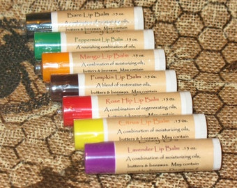 7 varieties of lip balms contain a blend of oils, butters, beeswax and essential oils to moisturize and protect. .15 Fl. Oz. Tubes