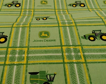 John Deere Tractor Plaid Fabric by the yard