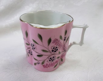 Vintage Mustache Teacup, Teacup With Mustache Guard Pink and Green Victorian Gentlemans Teacup