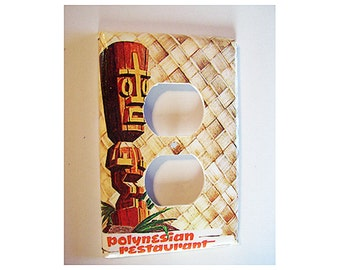tiki outlet switch plate cover retro vintage Fifties rockabilly rocker switch cover tropical kitsch
