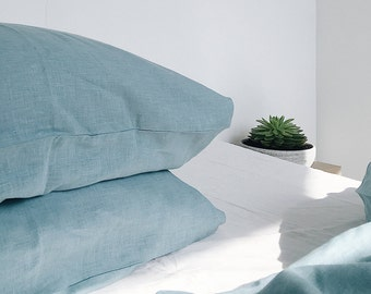 Teal Waves. Linen pillowcase. Teal, mint. US Full, US Queen, US King, Euro size