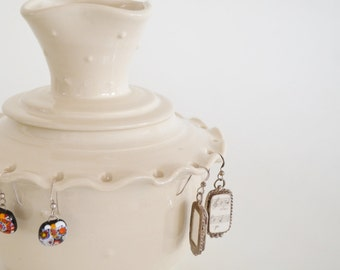 In Stock, Earring Bowl with Ring Lid, Hand Thrown Jewelry Holder, White Ceramic Jewelry Box, Ring Holder