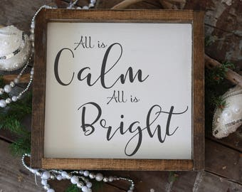 """All is calm, all is bright, silent night Christmas home décor, modern farmhouse hand painted, rustic wall art, deck your halls 14x14"""""""