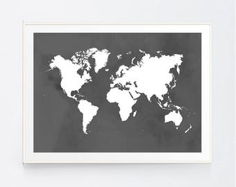 Multicolor world map printable wall art printable poster grey world map art printable art grey wall art something grey world gumiabroncs Gallery