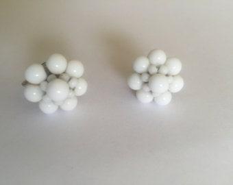 Vintage button style screw back earrings/milk glass  beads/ silver tone earrings marked Western Germany/ flower/snowflake/ wedding