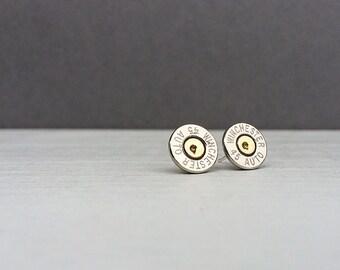 silver 45 winchester bullet earrings | sterling silver stud earrings | gift for him | gift for her