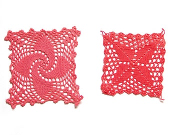 2 red coral Crochet Doilies Vintage hand dyed doilies