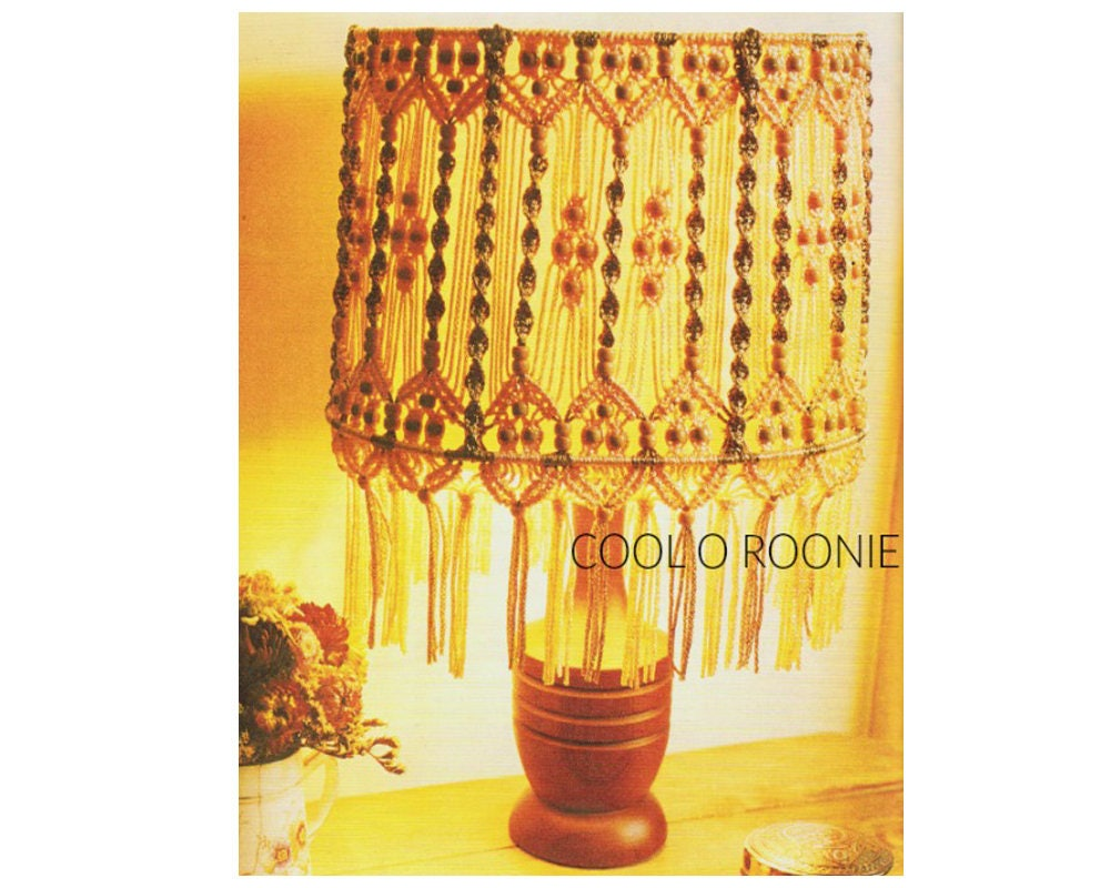 Macrame Lamp Shade Pattern Vintage 70s Home Decor Digital Macrame ...