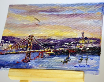 """Golden Gate Bridge And Sutro Tower in San Francisco Painting by marinelaArt - Acrylic Fine Art Painting on 3"""" x 4"""" Large Canvas Paintings"""