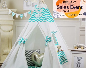 Turquoise Chevron Teepee Package with Poles, Floor and Pockets, Kids Teepee,Play Tent, Childrens Teepee, Tipi, Playhouse, Kids Room Decor