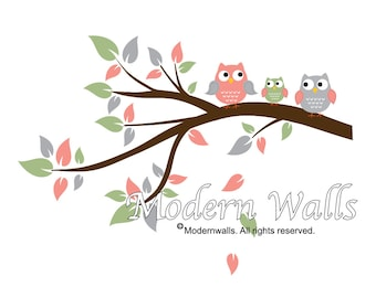Children Wall Decals For Nursery-Branch Decal with Owls-e159