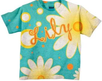 Girls Aqua Daisy T-Shirt, Personalized Childrens Clothing, Shirt