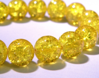 10 12mm translucent crackled glass - yellow-PE262-10 beads