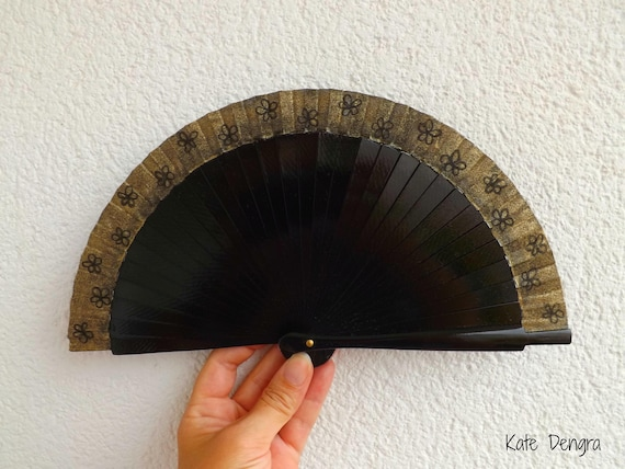 Black and Gold Flower Hand Fan Tiny