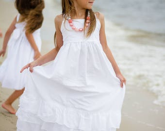 Girls White Beach Dress - White Maxi Dress - White Cotton Maxi Dress - Girls White Maxi Dress - Flower Girl Dress - Junior Bridesmaid