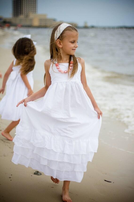 Girls White Beach Dress - White Maxi Dress - White Cotton Maxi Dress - Girls White Maxi Dress - Flower Girl Dress - Junior Bridesmaid