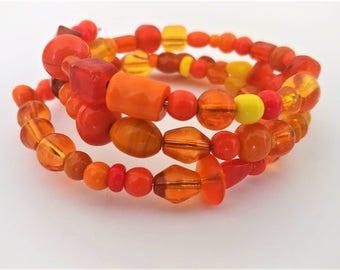 Beaded Memory Wire Wrap Around Bracelet Bangle- Orange Glass Beads