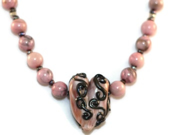 Pink Heart Necklace - Glass Heart Necklace - Pink Lampwork Glass Heart - Pink Glass Necklace - Glass Pearl Necklace - Pink Heart Pendant