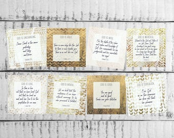 ESV Scripture Card, God is, Neutral, Gold, Geometric, Bible Verse, Encouragement, Gift, Memory Prayer Set Attributes Truth Square