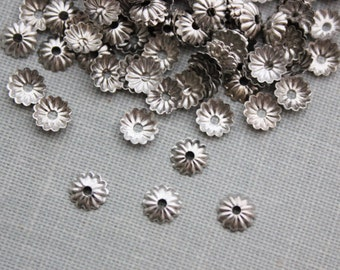 5mm Silver Fluted Bead Caps 100pcs