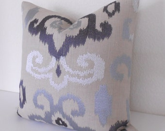 Ikat decorative pillow cover, gray, silver, blue pillow