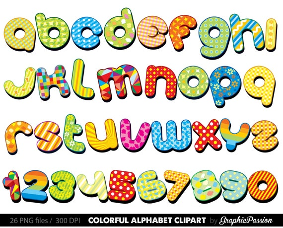 items similar to colorful alphabet clipart color alphabet digital rh etsy com letter clip art fonts letter clip art fonts