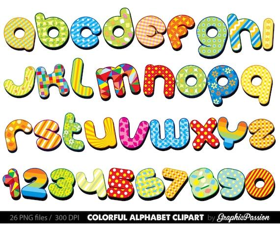 items similar to colorful alphabet clipart color alphabet digital rh etsy com letter clipart alphabet letter clip art fonts