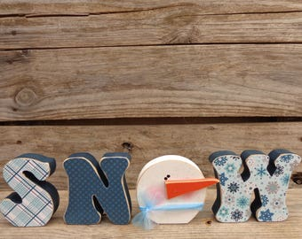 Winter Decor- Snow Decor- Snowman Decor- Snow Letter Set With Snowman