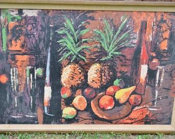 Vintage Painting Fruit And Wine Theme Signed J Chikar Retro Home Decor  Framed Art Panchosporch