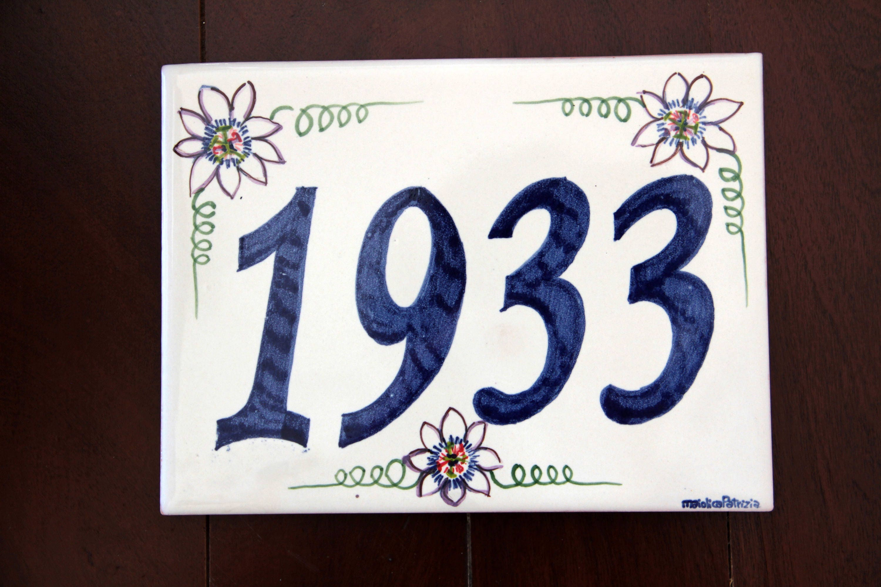 Rectangular plaque italian pottery outdoor numbers italian rectangular plaque italian pottery outdoor numbers italian majolica tile house sign customized plaque painted ceramic name sign italy dailygadgetfo Images