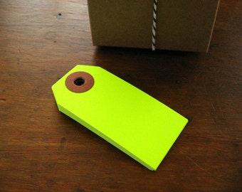Neon Yellow Gift Tags, Parcel Tags, Set of 20