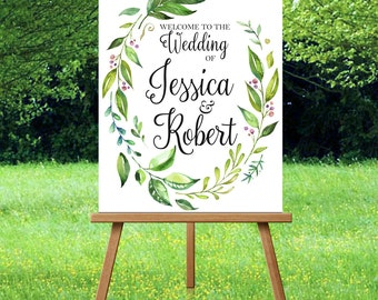 Wedding Welcome Sign Printable Floral Laurel Wedding Welcome Sign Large Floral Wedding Welcome Sign Welcome to our Wedding Sign Laurel Sign