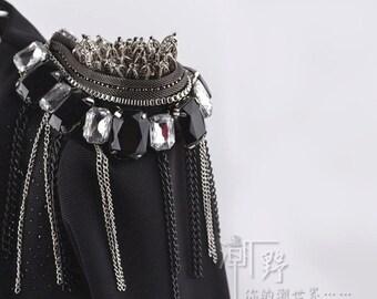 A pair crytal with Tassels Epaulets,DIY Craft Epaulets,Black Studs Shoulder Pad,Shoulder Embellishment,Epaulets