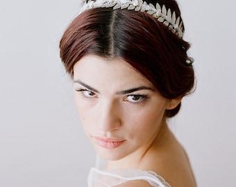 Bridal Headband, Leaf Tiara, Rainbow Moonstone Headband,Gemstone Tiara, Moonstone Crown, Leaf Tiara, Leaves of the Moon Tiara, Wedding Crown
