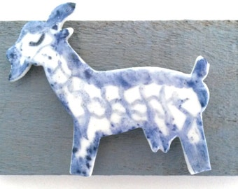 Delft Blue Goat on Driftwood, Blue & White  Porcelain, Delftware Animal, Blue and White, Delftware Goat, Handpainted, Goat Decor, Goat.