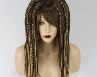 Brown & Blonde Full Synthetic Dread Wig With Few Criss-Crosses Covered.