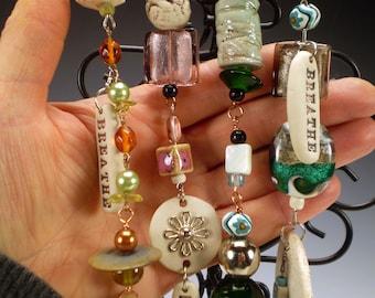 Handmade Breathe Car Charm, Breathe Car Accessory, Yoga Gift, Rear View Mirror Ornament, Car Ornament, Meditation Charm, Car Bling