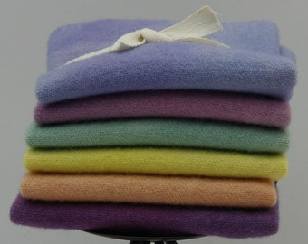 Jelly Beans:  Fat Sixteenth Six Pack of Hand-dyed Wool for Rug Hooking & Wool Applique Quilts