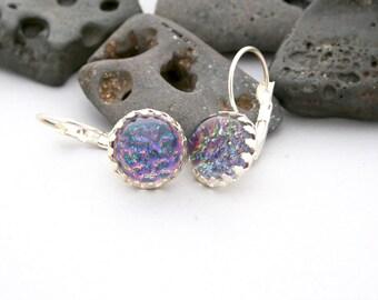 Rainbow Sunset Dangle Earrings - Glitter Earrings - Vintage Rainbow Earrings - Nail Polish Jewelry Style