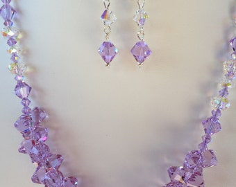 Lavender Swarovski Crystal Necklace with Earrings