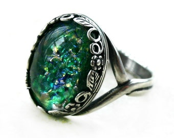 Green Opal Ring - Adjustable 5-10
