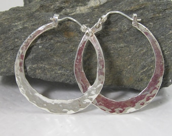 Seriously Hammered Silver Hoops with Arm Closure, Large Sterling Hoop Earrings Handmade Artisan Metalsmith Jewelry