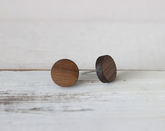 Wood 10mm Circle Earrings - Geometric Earrings - Minimalist Earrings - Laser Cut Earrings - Faux Plugs - Simple Wood Posts - Fake Plugs