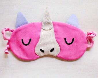 Unicorn Sleep Mask Unicorn Eye Mask Eye Cover Sleeping Mask Eyemask Unicorn Mask Unicorn Cosplay Blindfold Travel Mask - PINK Unicorn Mask