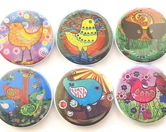 Magnet Set, Birdie Magnets, Whimsical Birdies, Fun Birdies, Refrigerator Magnets, Fridge Magnets, Kitchen Magnets, Pretty Birdies, Set of 6